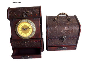 Wooden Craft Clock with One Drawer (HS100026)