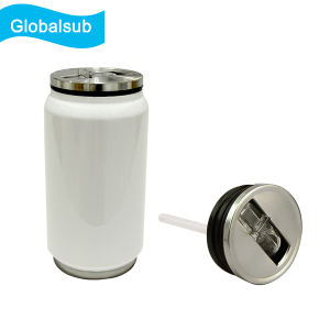 Coated Blank Sublimated Cola Can Mug with Straw