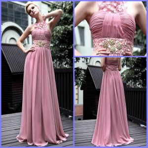 2012 Sexy Standard Size Sheath Newest Pink Lace Beaded Ruffle Dresses Evening (XZ-69)