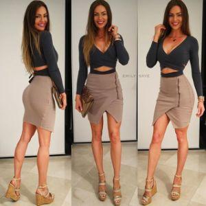 Women′s T-Shirt Deep V Low Cut Bandage Hollow Long Sleeve Top Split Dresses (2 Pieces) pictures & photos