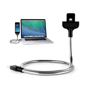 Bending Hose Metal Lazy Mobile Bracket Charging 8pin Data Palm Lightning USB Cable with Holder Function for Apple iPhone 8 7 Plus iPad Air Mini pictures & photos