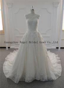 Long Train with Glass Beading Round Neck Lace Wedding Gown pictures & photos