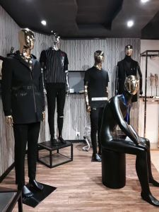 Fashion Glossy Male Mannequin with Chrome Face