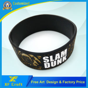Manufacturer Custom Fashion Debossed Silicon Silicone Rubber Bracelet for Promotional Gift (XF-WB15) pictures & photos