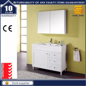 36′′ Modern Solid Wood White Lacquer Bathroom Cabinet with Mirror pictures & photos