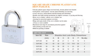 Square Shape Chrome Plated Iron Padlock with Vane Key pictures & photos