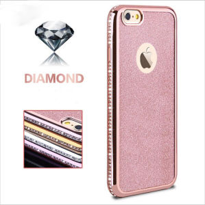 Plating Unilateral Drilling with Glitter Soft TPU Case for iPhone 6 6splus 7 7plus Leather Case (XSDD-086) pictures & photos