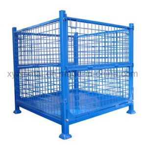 Warehouse Storage Folding Stacking Steel Wire Mesh Container with Wheels pictures & photos