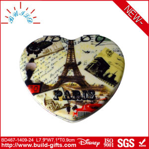 Heart Shape Pocket Makeup Mirror Covered by PU with Printing pictures & photos