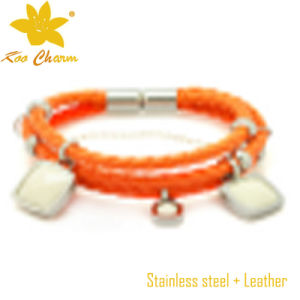 Orange Color with Stainless Steel Custom Leather Bracelets