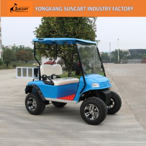 Ezgo Blue Color Electric Golf Cart, 2 Seater Cheap Golf Cart for Sale, Hunting Golf Cart with Rear Box pictures & photos