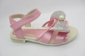 PU Sandals Shiny Bowknot for Girl Student pictures & photos