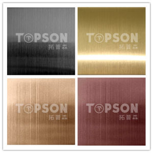 Hairline Stainless Steel Sheet for Decoration PVD Color 201 304 Cold Rolled pictures & photos