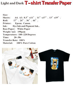 A4 Size Iron-on Inkjet T-Shirt Heat Transfer Paper for Canon/Epson/Laser Inkjet Printer pictures & photos