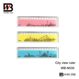 Plastic Color City View Ruler for Office and School Stationery