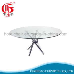 Round Shape Stainless Steel Wedding Table with Glass Top pictures & photos