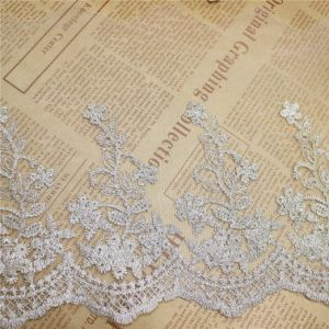 Factory Stock Wholesale 18.5cm Width Embroidery Gold Thread Polyester Net Lace Polyester Embroidery Trimming Fancy Mesh Lace for Garments Accessory (BS1116) pictures & photos