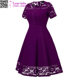 Lace Round Neck Short Sleeve Princess A Line New Fashion Prom Dress L36173-2 pictures & photos