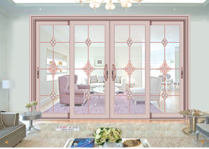 Double Tempered Carved Glass Aluminium Sliding Door for Living Room pictures & photos