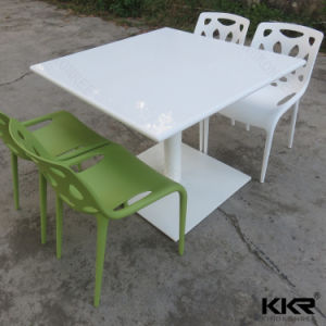 Kingkonree High Glossy Stone Table White Restaurant Dining Table pictures & photos