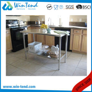 Square Tube Stainless Steel Shelf Reinforced Robust Construction Solid Backsplash Worktable with Adjustable Leg pictures & photos