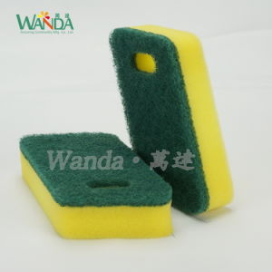 Easy Hanging Abrasive Scouring Pad Sponge Scourer for Kitchen Cleaning pictures & photos