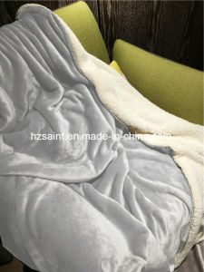 Hotel Use Two Layer Sherpa Fleece Blanket pictures & photos