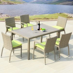 Patio Rattan Furniture Aluminum Plastic Wood Table Wicker Arm Chair (J818-160) pictures & photos