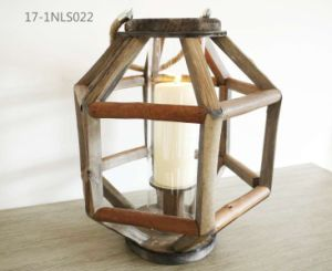 Shabby Unique Splice Wooden with Metal Handle of Wooden Lanterns pictures & photos