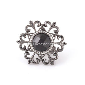 Vintage Female Jewelry Gun Black Big Flower Shaped Open Ring Women Fashion pictures & photos