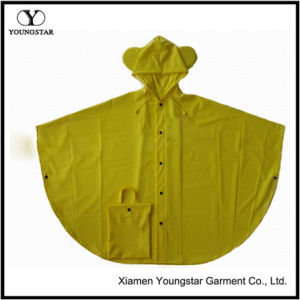 New Style Yellow Color PVC Waterproof Rain Poncho for Children pictures & photos