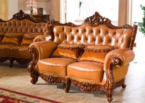 Europe Style Furniture Chesterfield Leather Sofa with Genuine Leather Sofa Furniture pictures & photos