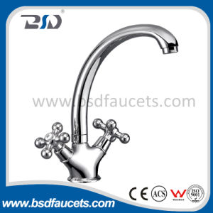 2017 Deck Mounted Single Hole Brass Two Handle Kitchen Faucet pictures & photos