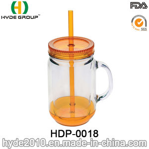 2017 Newest Double Wall Plastic Mason Jar with Handle (HDP-0166) pictures & photos