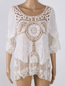 Hot Sexy White Crochet Lace Beachwear Cover up pictures & photos