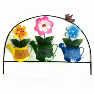 Metal Outdoor Decoration Bright Colored Fence with Cloth Flower pictures & photos