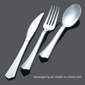Disposable Plastic Cutlery/Metal Coated Plastic Cutlery/Silver Coated Plastic Cutlery pictures & photos