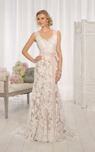 Sleeveless Lace Bridal Gowns Champagne Lining Mermaid Wedding Dresses B34 pictures & photos