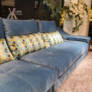 Blue Fabric Sofa with Chaise (801B) pictures & photos