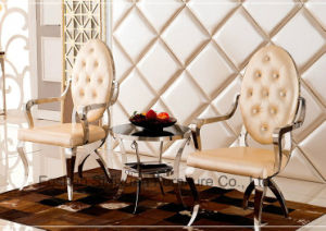 Modern French Luxury Banquet Stainless Steel Hotel Arm Dining Chair pictures & photos