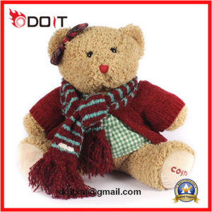 Girls Soft Furry Plush Teddy Bear with Scarf pictures & photos