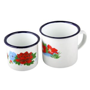 8cm Enamel Mug with Ss Rim pictures & photos