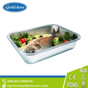 Durable Rectangular Aluminum Foil Food Container with Board Lid pictures & photos