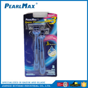 Triple Changeable Blade Disposable Razor for Men pictures & photos