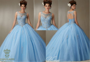 Guinceanera Dress Embroidery and Beading on a Tulle Ball Gown pictures & photos