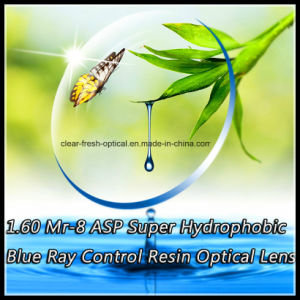 1.60 Mr-8 Asp Super Hydrophobic Blue Ray Control Resin Optical Lens pictures & photos