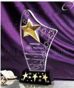 Engraving Star Crystal Trophy with Black Base pictures & photos