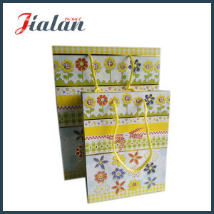 Yellow Color Full Printed Logo Custom Design Small Paper Bag pictures & photos