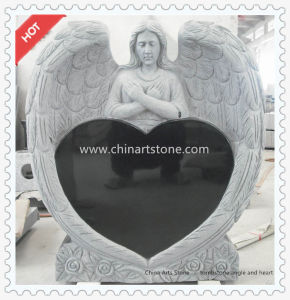Pure Black Heart Monument for Gravestone Funeral pictures & photos