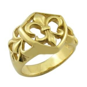 Men′s Stainless Steel Gold Fleur-De-Lis Ring pictures & photos